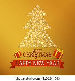 Christmas Gold Design with Tree Made of Snowflakes, Gift Boxes and Happy New Year Text on Red Ribbon