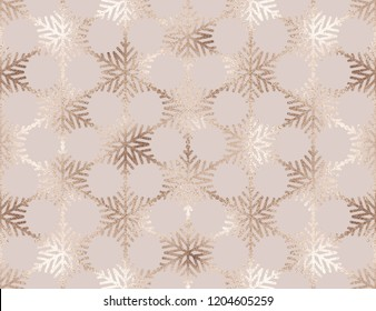 Christmas gold glitter snowflakes  seamless pattern.