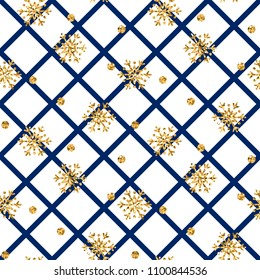 Christmas gold snowflake seamless pattern. Golden snowflakes on blue and white rhombus background. Winter snow texture wallpaper. Symbol holiday, New Year celebration Vector illustration