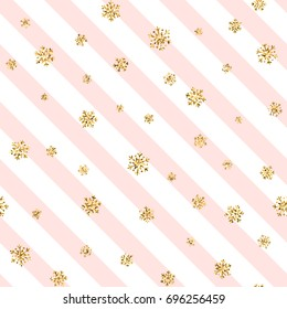 Christmas gold snowflake seamless pattern. Golden snowflakes on pink and white diagonal lines background. Winter snow design wallpaper. Symbol holiday, New Year celebration Vector illustration