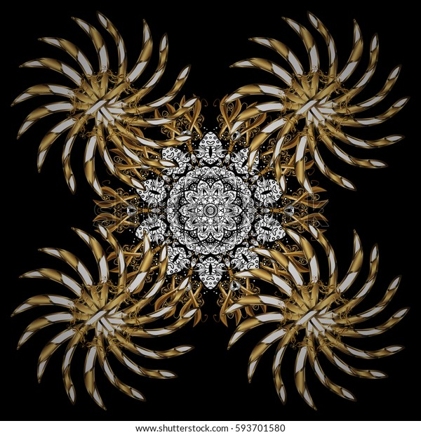 Christmas gold snowflake. Symbol holiday, New Year celebration vector golden pattern with golden elements. Winter snow texture wallpaper. Golden snowflakes on black background.