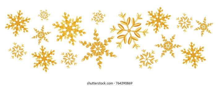 Christmas gold snowflakes splash of a random scatter snowflakes isolated on white. Snow explosion. Ice storm
