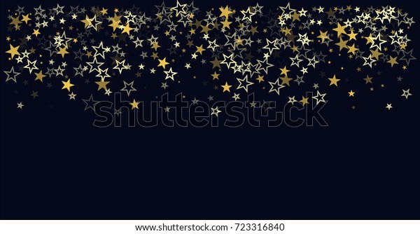 christmas gold stars confetti falling, holidays vector background. magic shining Flying stars on night sky and glitter dots cosmic backdrop, sparkle border.
