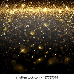 Christmas Golden Background with bokeh effect. Vector illustration
