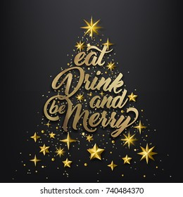 Christmas Golden Background, Eat Drink and be Marry