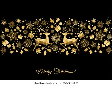 Christmas golden background. Gold Xmas reindeer. Vector template for greeting card.
