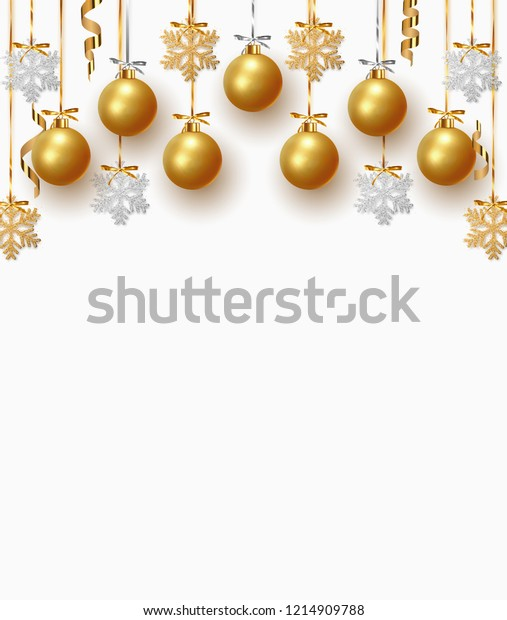 Christmas golden balls background. Festive xmas decoration gold bauble and bright snowflake, hanging on the ribbon.