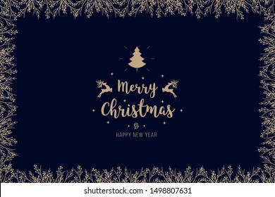 Christmas golden branches border with greetings on blue background card