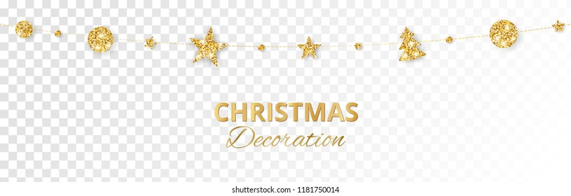 Christmas golden decoration isolated on white background. Hanging glitter balls, trees, stars. Holiday vector frame for party posters, headers, banners. Winter season sparkling ornaments on a string.