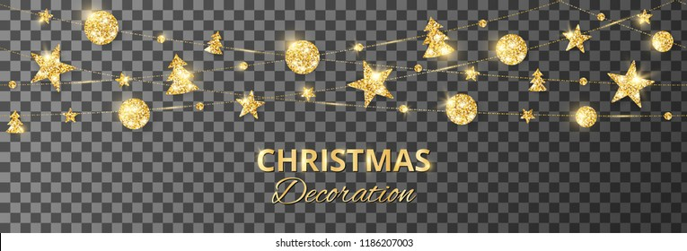 Christmas golden decoration isolated on transparent. Hanging glitter balls, trees, stars. Holiday vector frame for party posters, headers, banners. Winter season sparkling ornaments. Seamless strings.