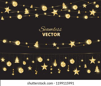 Christmas golden decoration on black background. Hanging glitter balls, trees, stars. Holiday vector frame for party posters, headers, banners. Winter season sparkling ornaments on a string.