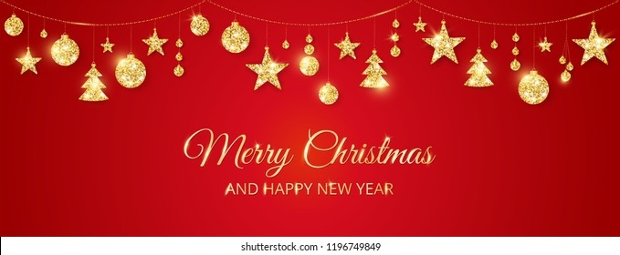 Christmas golden decoration on red background. Merry Christmas and Happy New Year text. Hanging glitter balls, trees, stars. Winter season sparkling ornaments on a string. For party posters, banners