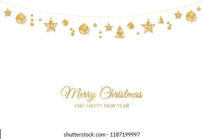 Christmas golden decoration on white background. Merry Christmas and Happy New Year card. Hanging glitter balls, trees, stars. Winter season sparkling ornaments on a string. For party posters, banners