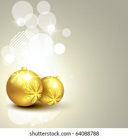 christmas golden glowing balls