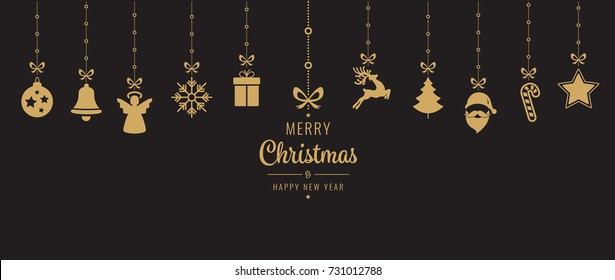 christmas golden ornament elements hanging black background