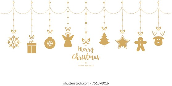 christmas golden ornament elements hanging isolated white background