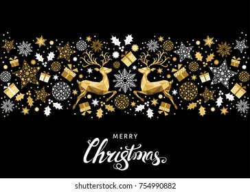 Christmas golden  tree decoration. Happy New Year background. Gold Xmas   reindeer and  lettering. Vector template  for greeting  card.