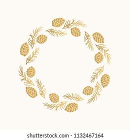 Christmas golden wreath. Hand drawn xmas design.