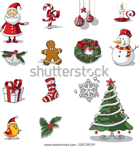 Christmas Graphic.Christmas Graphic Elements Hand Drawn Vector Stock Vector