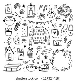 Christmas graphics on white background. Winter style illustrations. Cute hygge doodles: sweater, sweets, candles and wreaths