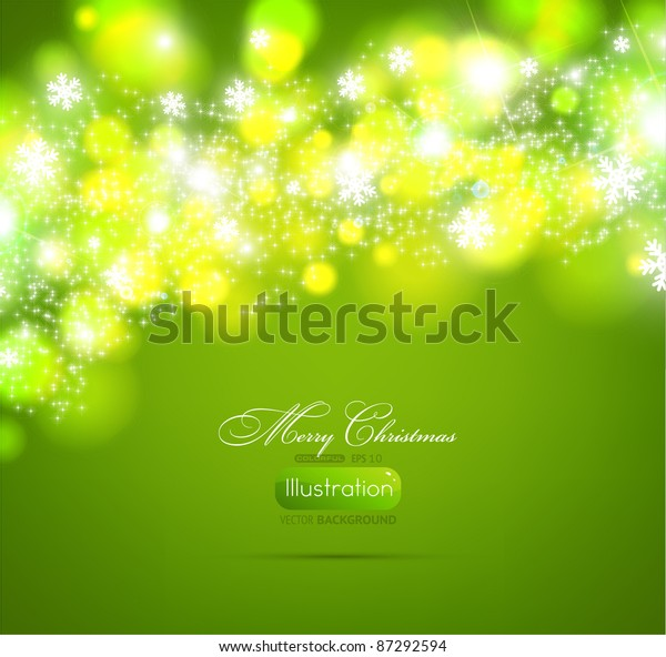 Christmas green background light and snowflakes vector background for Xmas winter design. EPS 10.