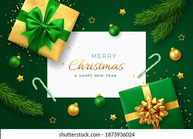Christmas green background with square paper banner, realistic gift boxes with green and golden bows, pine branches, gold stars and confetti, balls bauble. Xmas background, greeting cards. Vector.