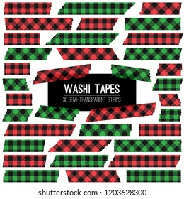 Christmas Green, Red and Black Buffalo Check Plaid Vector Washi Tape Strips. Semitransparent Stickers Mock Up. Trendy Photo Framing Isolated Design Elements. Xmas Photo Card Embellishment.