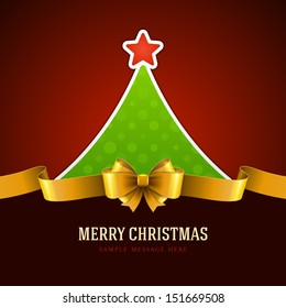 Christmas green tree and golden bow background. Vector illustration Eps 10.
