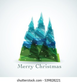 Christmas greeting background with geometric trees.