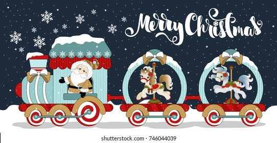 Christmas greeting banner with funny Santa Claus and a train with a pony. Inscription. Vector illustration.