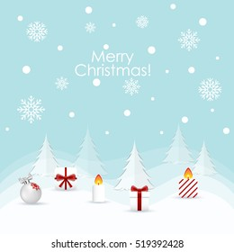 Christmas Greeting Card. Christmas background with decorations. Vector illustration.