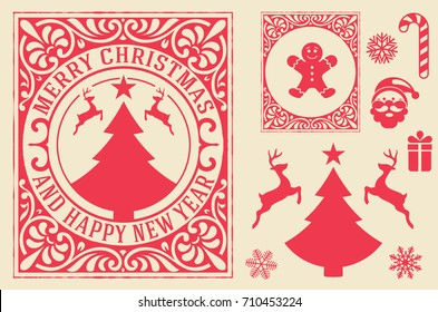Christmas greeting card background with design elements. vintage ornament decoration with Merry Christmas holidays and Happy new year message.