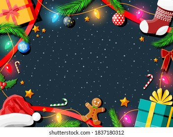Christmas greeting card background. Gift boxes, candycane, holly, sock, hat, gingerbread man, ball fur branches. Wishes presents xmas new year eve. Vector illustration flat style
