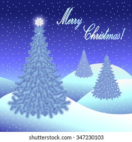 Christmas greeting card and background with Christmas tree and Merry Christmas lettering. Vector illustration.