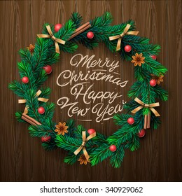 Christmas greeting card and background. Christmas wreath with garlands, Merry Christmas and Happy New Year lettering. Vector