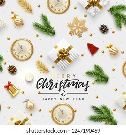 Christmas greeting card. Background Xmas objects viewed from above. Text Merry Christmas and Happy New Year. Vector illustration. flat lay