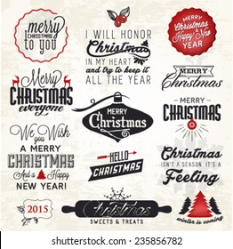 Christmas Greeting Card Badges and Labels. Vector Illustration