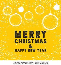 Christmas Greeting Card with Bauble in Yellow. Merry Christmas lettering, vector illustration. Stylish elements for design.