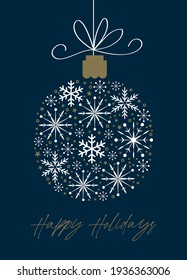 christmas greeting card with baubles design on blue color background
