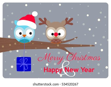 christmas greeting card, best wishes of a merry christmas and happy holidays with a delicious pair of owls in christmas version under snowflakes