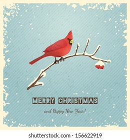 Christmas greeting card with bird. Vector illustration, eps 10.