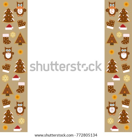 christmas greeting card with borders of chocolate cookies vector illustration