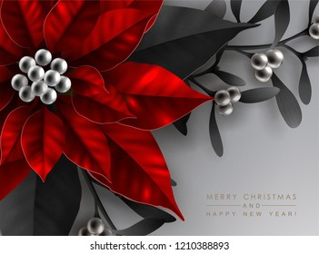 Christmas Greeting Card with Bright Red Poinsettia Flower