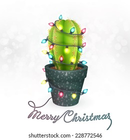 Christmas Greeting Card with a Cactus in a Pot Decorated with Christmas Lights