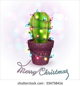 Christmas Greeting Card with a Cactus in a Pot