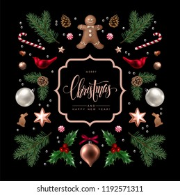Christmas greeting card with Calligraphic Season Wishes and Composition of Festive Elements such as Cookies, Candies, Berries, Christmas Tree Decorations, Pine Branches.