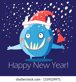 Christmas greeting card with a cheerful monster on a blue background with a snowfall