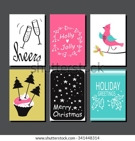 Christmas greeting card collection hand drawn stock vector royalty christmas greeting card collection hand drawn design for winter holiday gift tags stickers and m4hsunfo