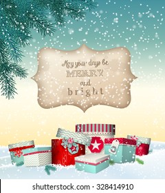 Christmas greeting card with colorful presents lying in snowy landscape, winter theme, vector illustration, eps 10 with transparency and gradient mesh