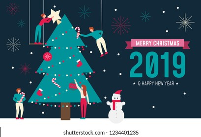 Christmas greeting card concept. Trendy flat design with small people teamwork decorating Christmas tree. Vector illustration.
